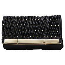 Buy Reiss Lorna Metal Foldover Clutch, Black Online at johnlewis.com