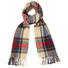Buy Phase Eight Tartan Print Scarf, Cream Online at johnlewis.com