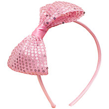 Buy John Lewis Girl Sequined Bow Alice Band, Pink Online at johnlewis.com