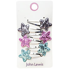 Buy John Lewis Crunch Glitter Star Hair Clips, Pack of 6, Multi Online at johnlewis.com