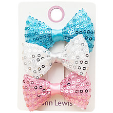 Buy John Lewis Girl Sequinned Bow Hair Clips, Pack of 3, Multi Online at johnlewis.com