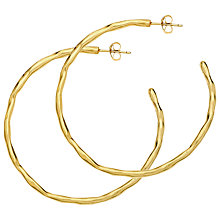 Buy Dower & Hall 18ct Gold Vermeil Large Ripple Hoop Earrings, Gold Online at johnlewis.com