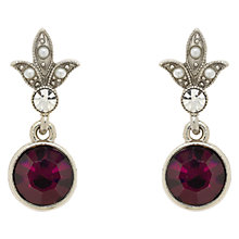 Buy Downton Abbey Silver & Amethyst Pearl Drop Earrings, Silver/Purple Online at johnlewis.com