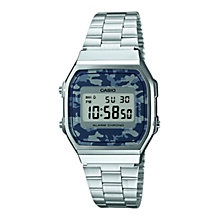 Buy Casio A168WEC-1EF Unisex Core Digital Watch, Camo/Silver Online at johnlewis.com