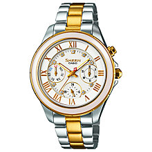 Buy Casio SHE-3507SG-7AUER Women's Sheen Chronograph Watch, Silver/Gold Online at johnlewis.com