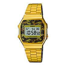 Buy Casio A168WEGC-5EF Unisex Core Digital Watch, Camo/Gold Online at johnlewis.com