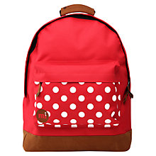 Buy Mi-Pac Polka Dot Backpack, Red/White Online at johnlewis.com