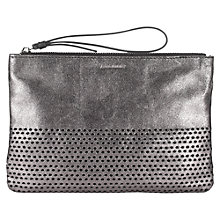 Buy Jigsaw Perforated Leather Clutch Bag, Pewter Online at johnlewis.com