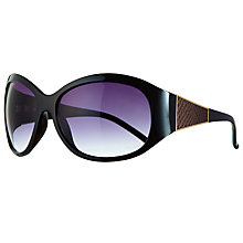 Buy John Lewis Large Oval Snake Arm Sunglasses, Black Online at johnlewis.com