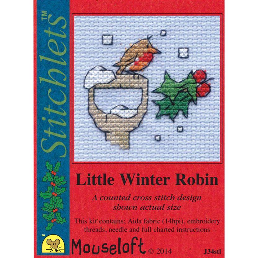 Mouseloft Cross-Stitch 'Little Winter Robin' Card and Envelope