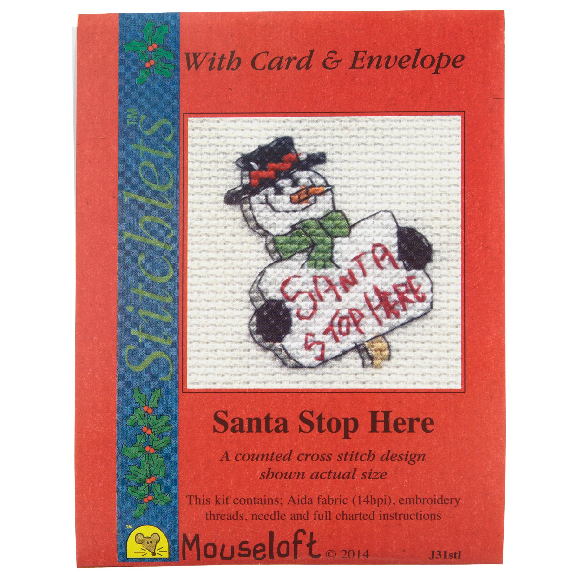 Mouseloft Cross-Stitch 'Santa Stop Here' Card and Envelope