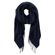 Buy Mint Velvet Check Fringed Blanket Scarf, Navy Online at johnlewis.com