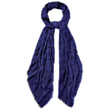 Buy Jaeger Woven Logo Jacquard Scarf, Blue Online at johnlewis.com