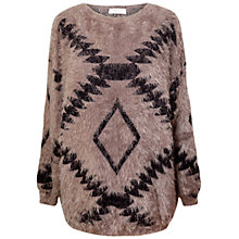 Buy Paisie Fluffy Aztec Pattern Jumper, Mocha Online at johnlewis.com