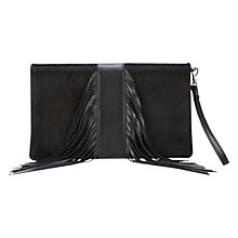 Buy Mint Velvet Naomi Pony Skin Leather Fringe Clutch, Black Online at johnlewis.com