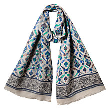 Buy East Fine Wool Blend Print Scarf, River Blue Online at johnlewis.com