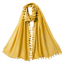 Buy East Silk Blend Pom Pom Scarf, Ochre Online at johnlewis.com
