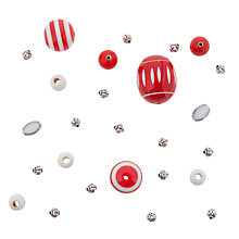 Buy Rico Mixed Pack of Beads, Red/White Online at johnlewis.com