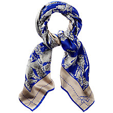 Buy Jaeger Floral Print Square Scarf, Blue Online at johnlewis.com