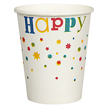 Buy John Lewis Happy Birthday Cups, Pack of 8 Online at johnlewis.com
