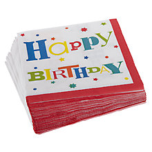 Buy John Lewis Happy Birthday Disposable Napkins, Pack of 20 Online at johnlewis.com