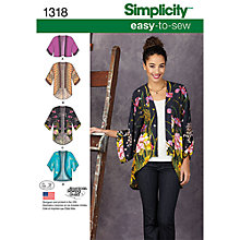 Buy Simplicity Women's Kimono Jackets Sewing Patterns, 1318 Online at johnlewis.com