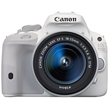 "Buy Canon EOS 100D Digital SLR Camera with 18-55mm STM Lens, HD 1080p, 18MP, 3"" LCD Touch Screen, White with Memory Card Online at johnlewis.com"