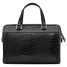 Buy Reiss Enzo Leather Crocodile Print Tote, Black Online at johnlewis.com