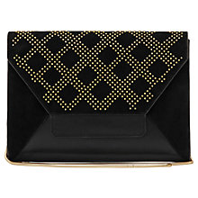 Buy Reiss Jonah Studded Envelope Leather Clutch Bag, Black Online at johnlewis.com