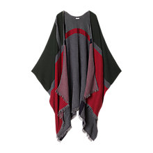 Buy Jigsaw Multi Block Poncho, Red Online at johnlewis.com