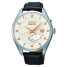 Buy Seiko SRN049P1 Men's Leather Strap Kinetic Watch, Black/Cream Online at johnlewis.com