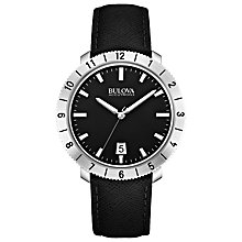 Buy Bulova 96B205 Men's Accutron Leather Strap Watch, Black Online at johnlewis.com
