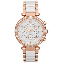 Buy Michael Kors MK5774 Women's Parker Ceramic Chronograph Watch, Rose Gold/White Online at johnlewis.com