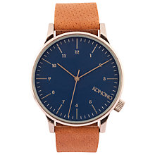 Buy Komono Unisex Blue Cognac Winston Leather Strap Watch, Tan/Silver Online at johnlewis.com