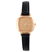 Buy Komono Women's Moneypenny Leather Strap Watch, Black/Gold Online at johnlewis.com