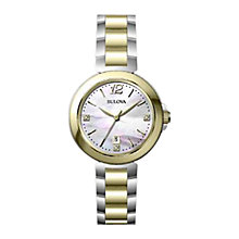 Buy Bulova 98P142 Women's Diamond Mother of Pearl Watch, Silver / Gold Online at johnlewis.com