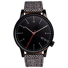 Buy Komono Unisex Herringbone Winston Leather Strap Watch, Black Online at johnlewis.com