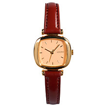 Buy Komono Women's Gold Peach Moneypenny Leather Strap Watch, Burgundy Online at johnlewis.com