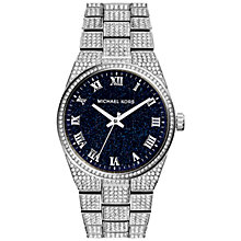 Buy Michael Kors Channing MK6089 Women's Pave Quartz Stainless Steel Watch, Blue / Silver Online at johnlewis.com