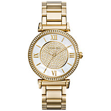 Buy Michael Kors Catlin MK3332 Mother of Pearl and Pave Quartz Gold-Tone Stainless Steel Watch, Pearl/Gold Online at johnlewis.com