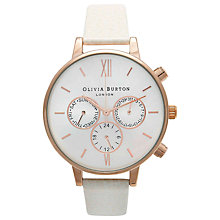 Buy Olivia Burton OB13CG01C Women's Big Dial Leather Strap Chronograph Watch, Mink Online at johnlewis.com