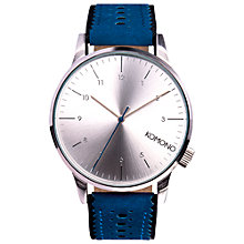 Buy Komono Unisex Winston Leather Strap Watch, Tonal Blue Online at johnlewis.com