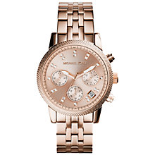 Buy Michael Kors MK6077 Women's Ritz Crystal Stainless Steel Bracelet Strap Watch, Rose Gold Online at johnlewis.com