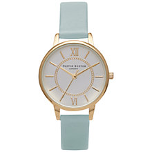 Buy Olivia Burton OB15WD27 Women's Wonderland Leather Strap Watch, Powder Blue/Gold Online at johnlewis.com