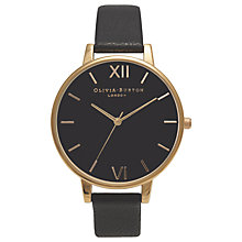 Buy Olivia Burton OB15BD55 Women's Big Dial Winter Garden Leather Watch, Black/Gold Online at johnlewis.com