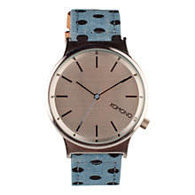 Buy Komono Women's Denim Polkadot Wizard Print Leather Strap Watch, Blue/Silver Online at johnlewis.com