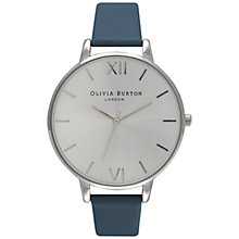 Buy Olivia Burton OB15BD54 Women's Big Dial Leather Strap Watch, Navy/Silver Online at johnlewis.com