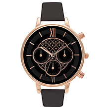 Buy Olivia Burton OB15CG44 Women's Detailed Chronograph Leather Strap Watch, Black/Rose Gold Online at johnlewis.com