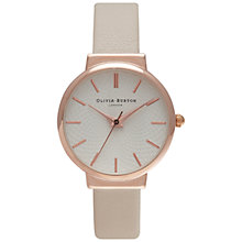 Buy Olivia Burton OB15TH02 Women's Hackney Leather Strap Watch, Mink/White Online at johnlewis.com