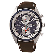 Buy Seiko SNDF95P1 Men's Chronograph Leather Watch, Brown / Blue Online at johnlewis.com